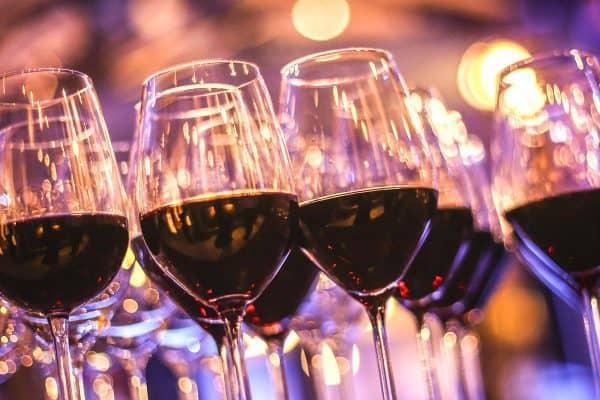 Wine glasses filled
